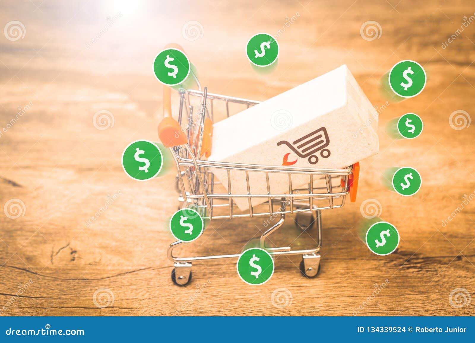 Коммерция e, покупает и продает онлайн, виртуальную корзину