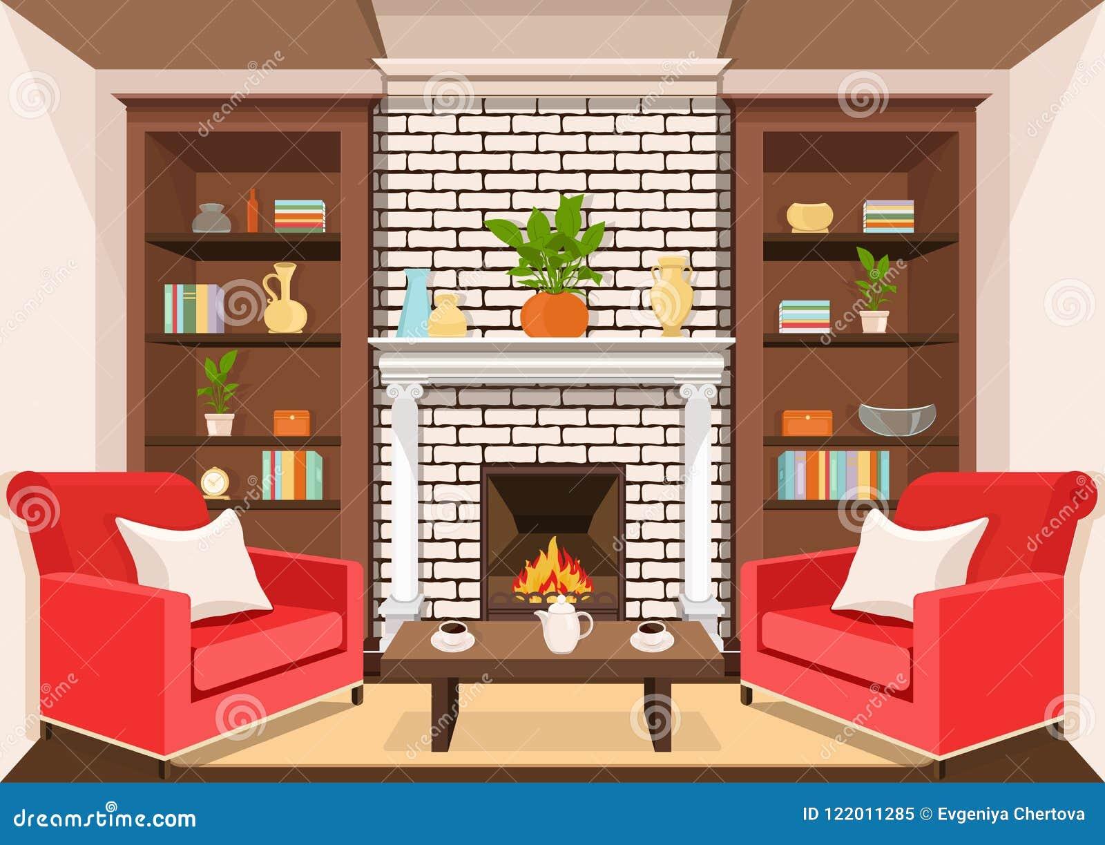 Комната с камином, плоско внутренним, красочным чертежом, иллюстрацией вектора живущая комната с горя огнем, шкафами с вазами, ши