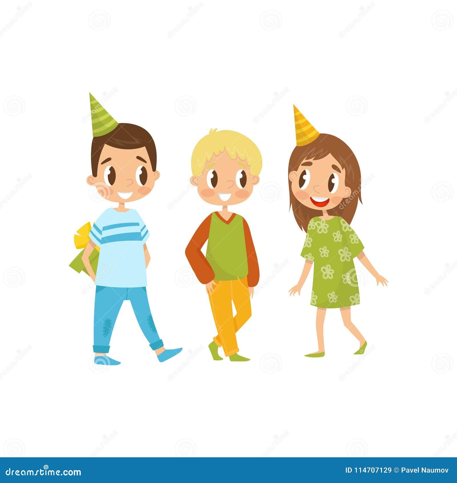 Компания детей на иллюстрации вектора шаржа вечеринки по случаю дня рождения на белой предпосылке