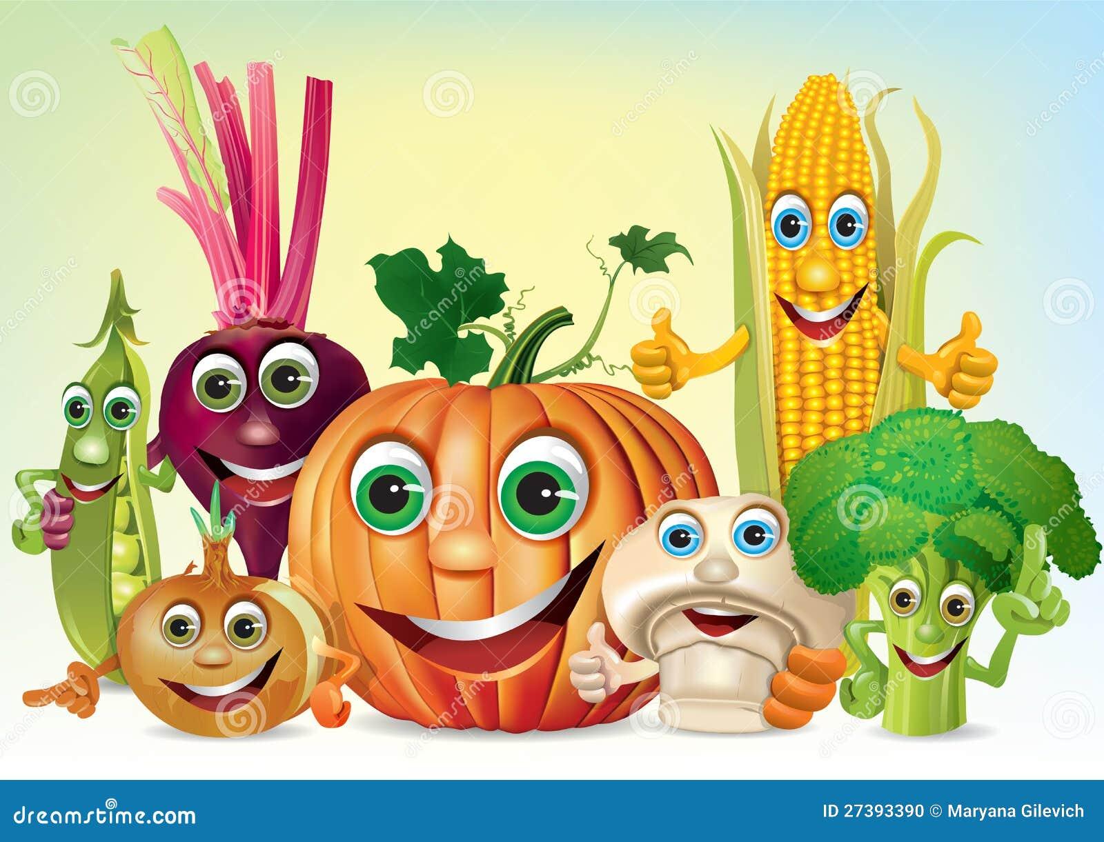 Компания потехи шаржа овощей