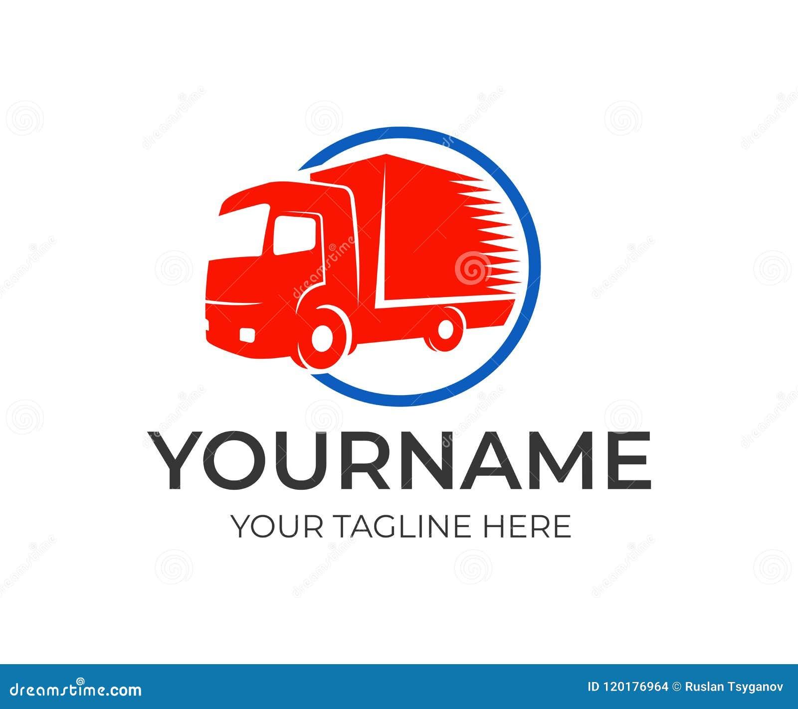 Компания снабжения и быстрая тележка в круге, шаблоне логотипа Транспорт груза, поставка товаров и автоматический переход, desi в