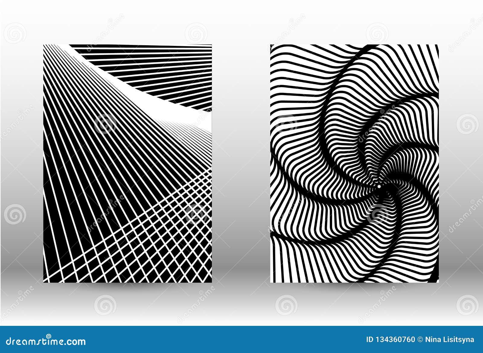 Комплект абстрактных картин с передернутыми линиями