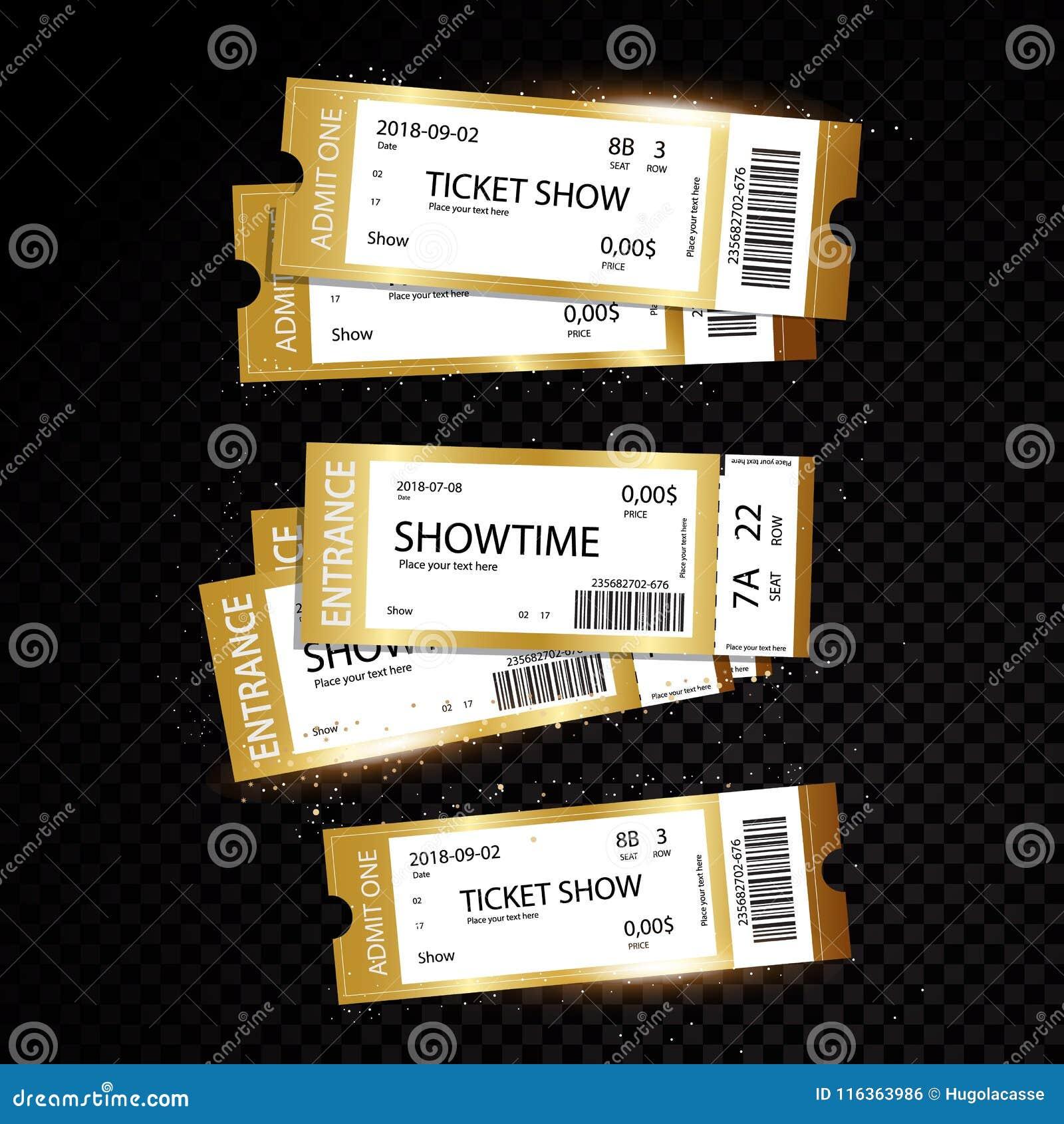 Комплект 11 билетов вектора и шаблонов талонов