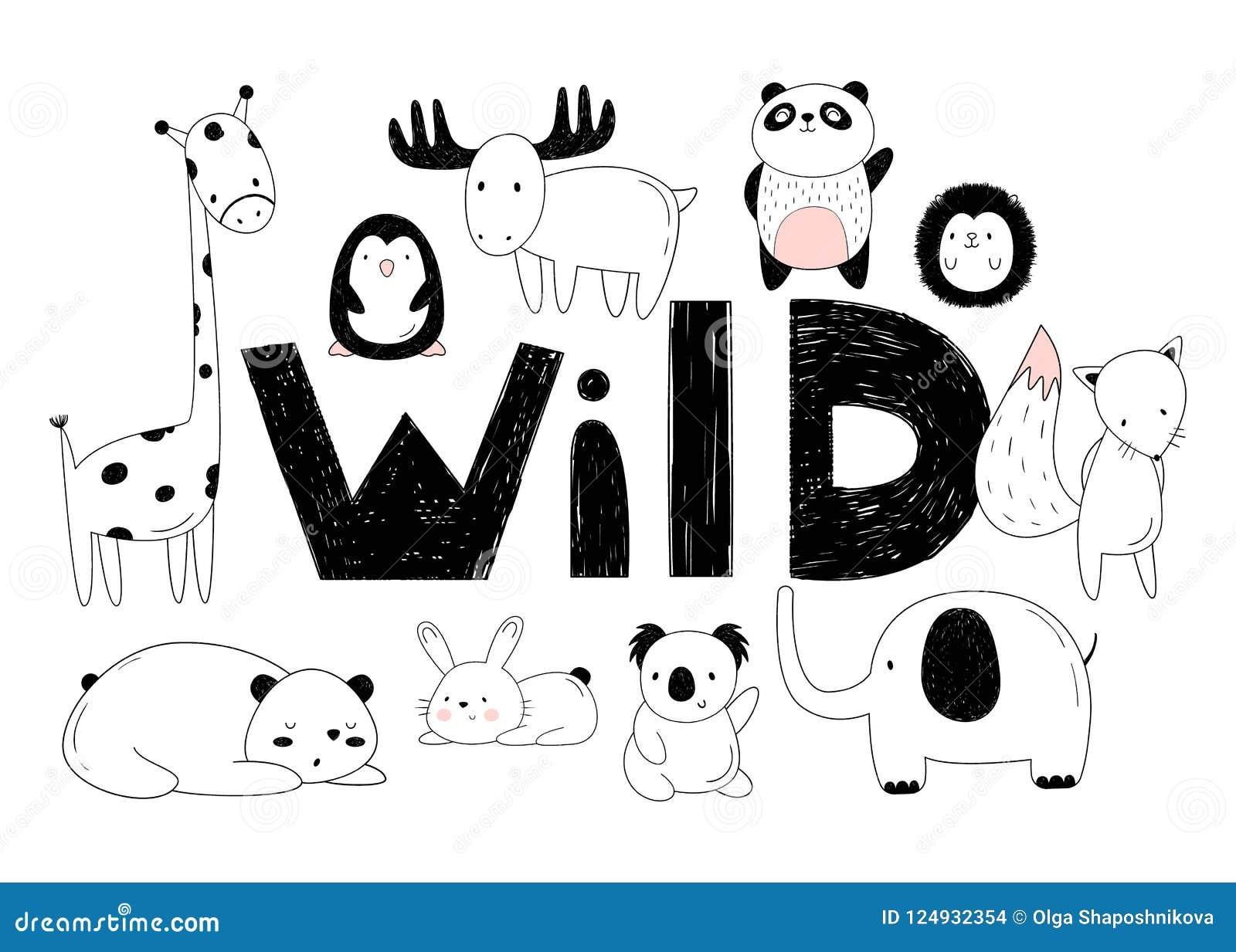 Комплект вектора диких животных Чертежи вручную Зоопарк шаржа 10 объектов, надпись