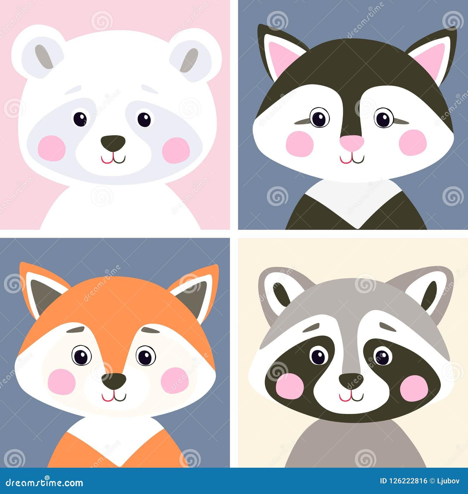 Комплект вектора милого полесья и домашних животных Смешной полярный медведь, котенок, лиса и енот в плоском стиле