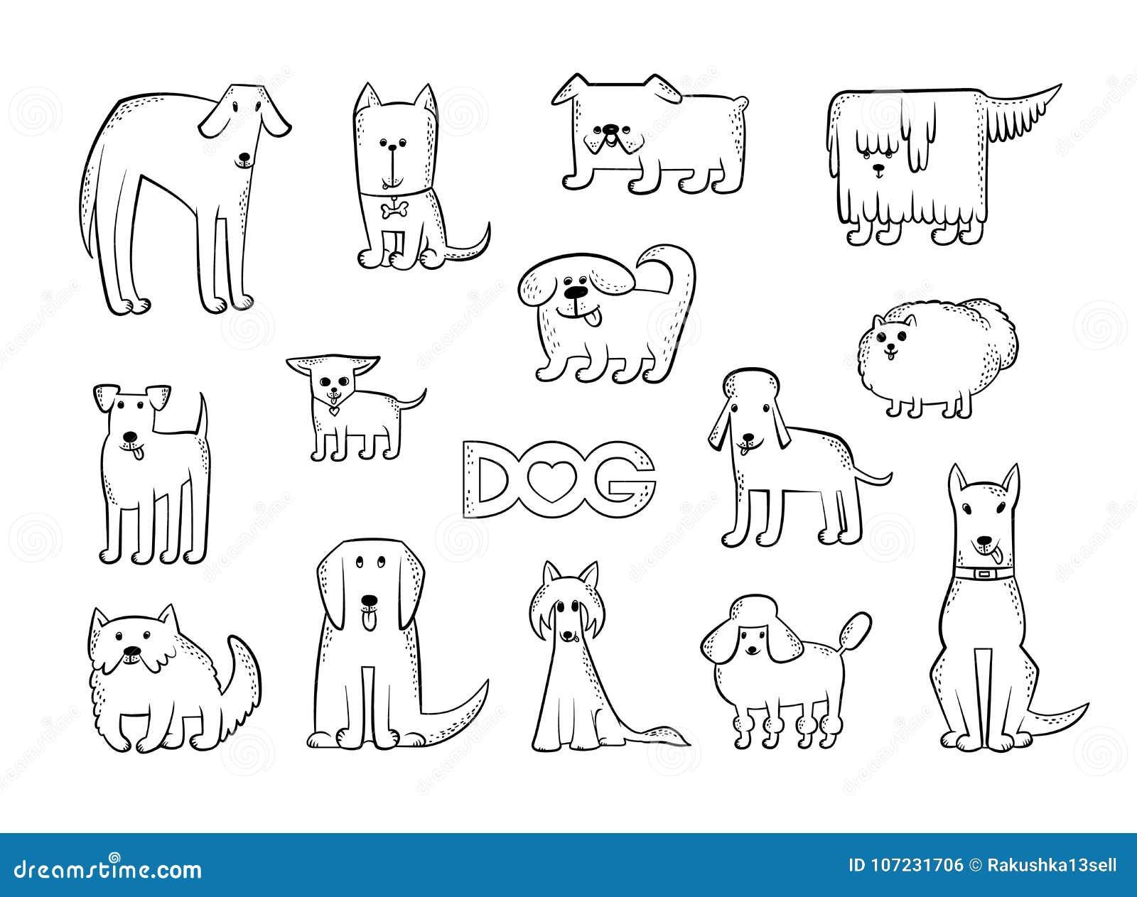 Комплект вектора различных пород собаки Смешные характеры животных карикатуры Эскиз изолированный контуром черно-белый