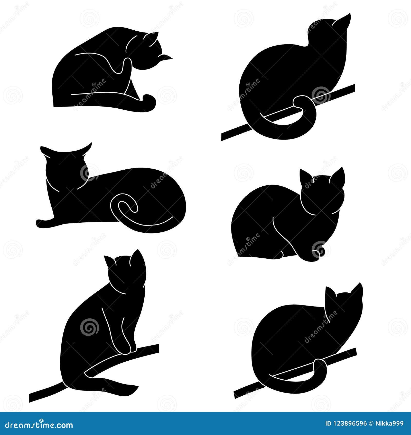 Комплект вектора силуэтов кота Различные позиции: сидеть, лежащ, отдыхающ, играть, охотясь
