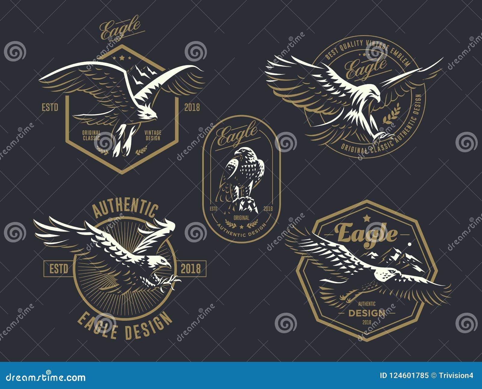 Комплект винтажного логотипа с орлом