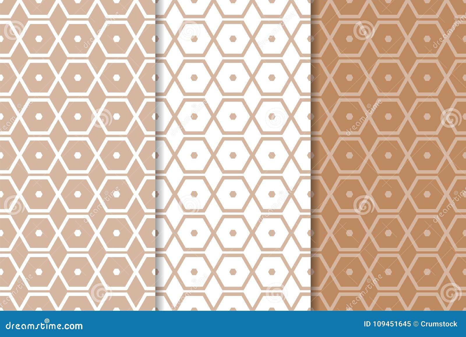Комплект геометрических орнаментов Брайн и белые безшовные картины