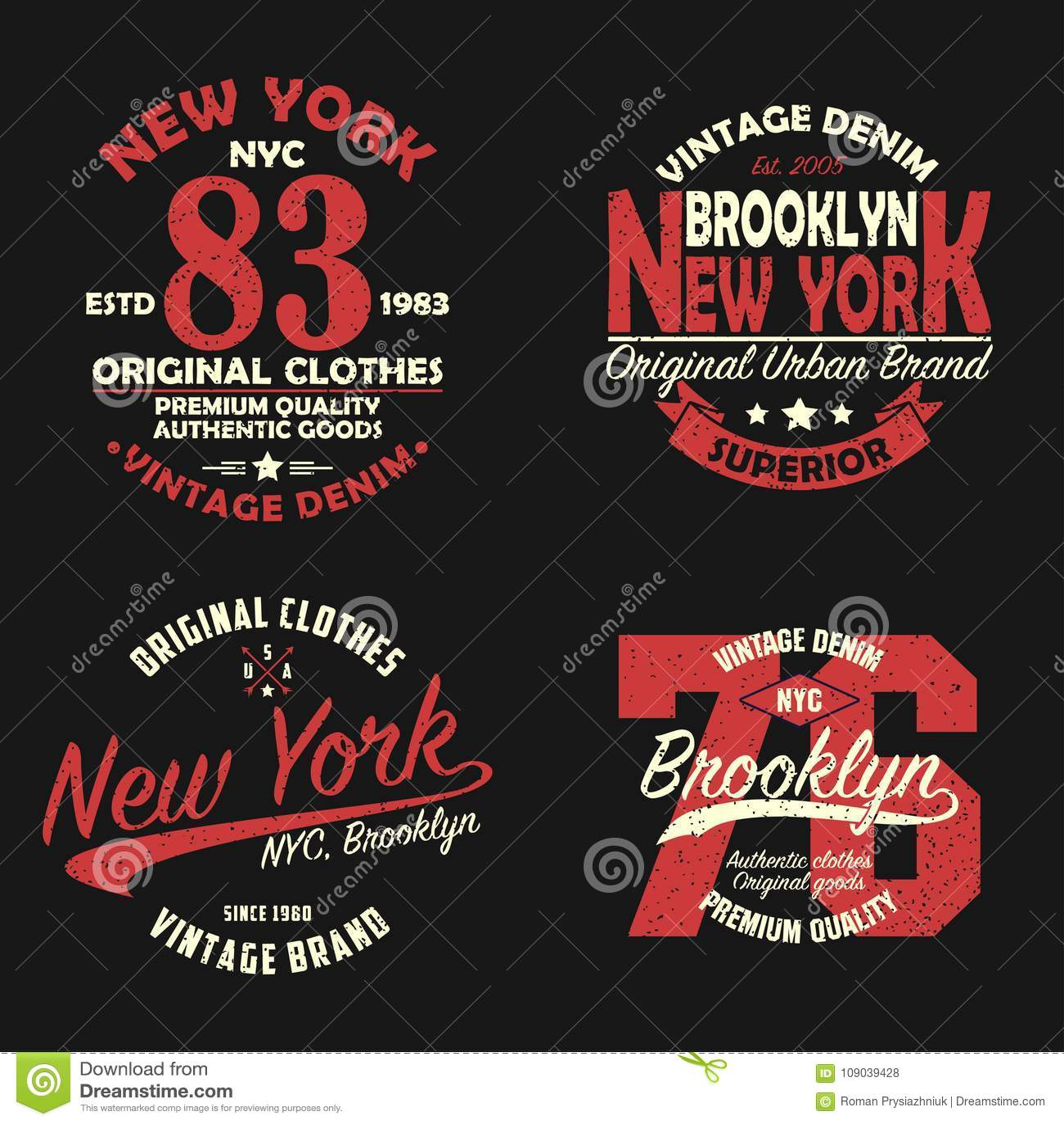 Комплект график бренда Нью-Йорка, Бруклина винтажный для футболки Первоначально дизайн одежд с grunge r