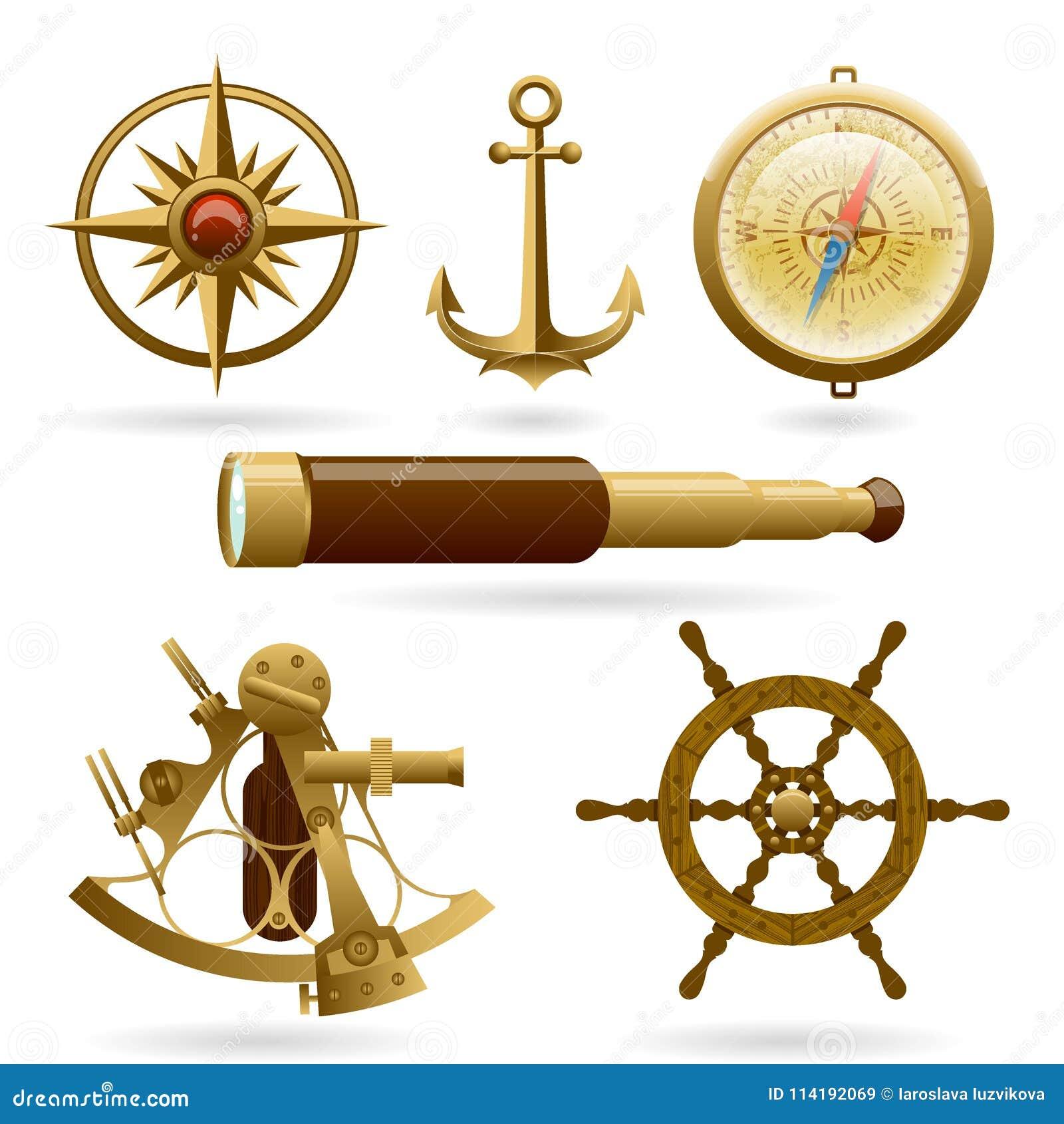 Комплект значка морской навигации вектора изолированный на белой предпосылке Windrose, анкер, компас и другие объекты