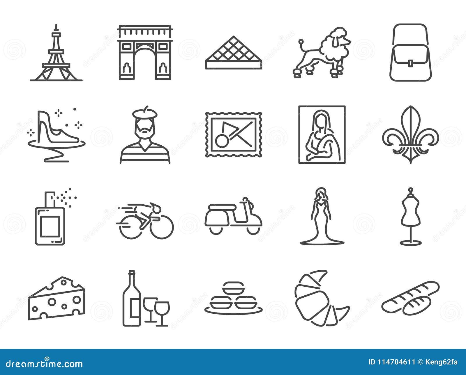Комплект значка перемещения Франции Включил значки по мере того как французская здравица, ориентир ориентиры, Эйфелева башня, баг