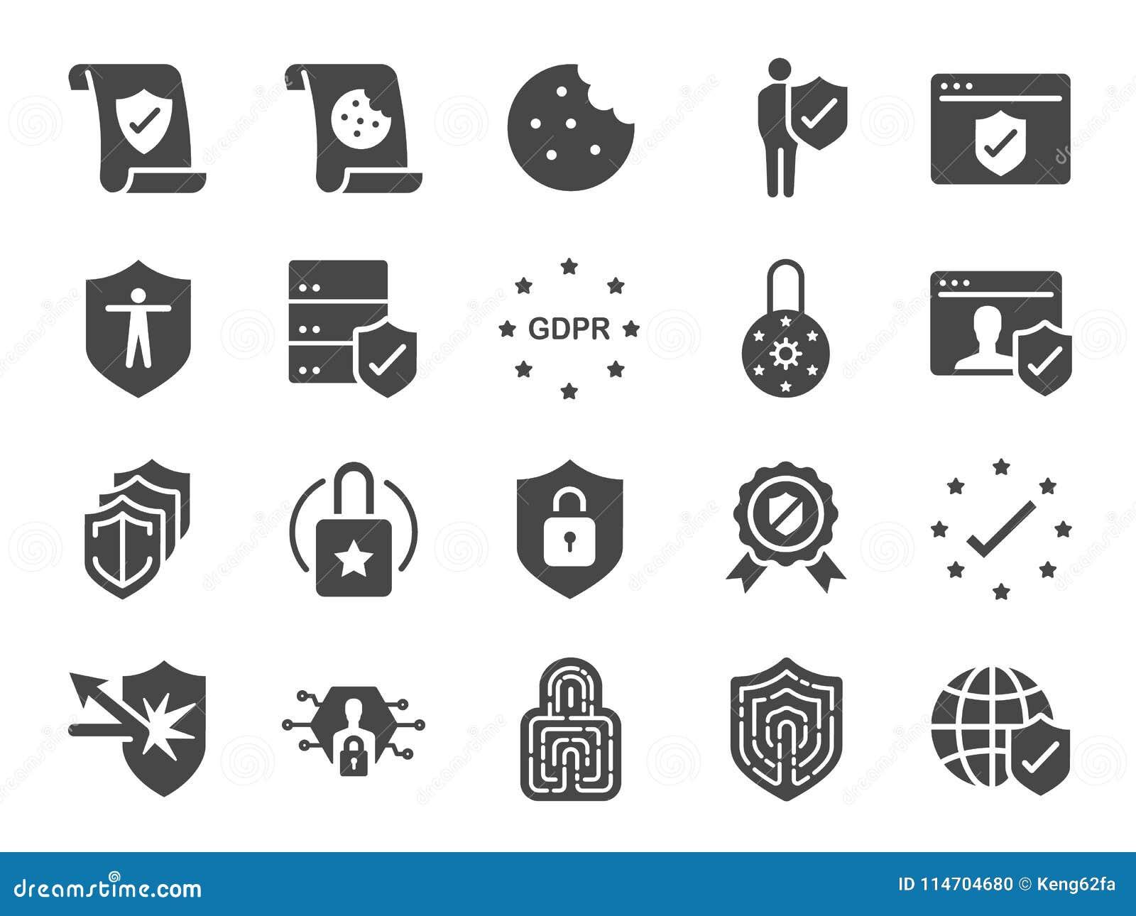 Комплект значка политики уединения Включил значки как информация о безопасности, GDPR, защита данных, экран, политика печений, ус