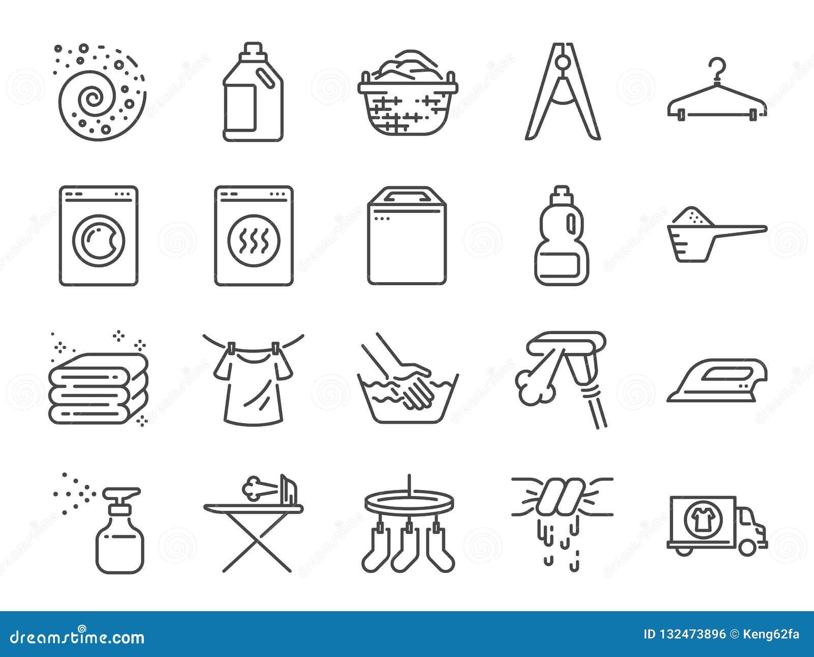 Комплект значка прачечной Включил значки как тензид, стиральная машина, свежее, чистая, утюг и больше