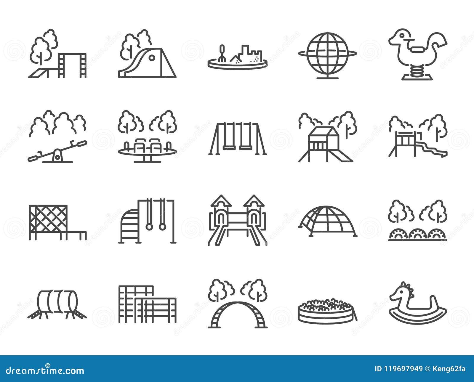 Комплект значка спортивной площадки Включенные значки как дети внешняя игрушка, ящик с песком, парки детей, скольжение, бар обезь