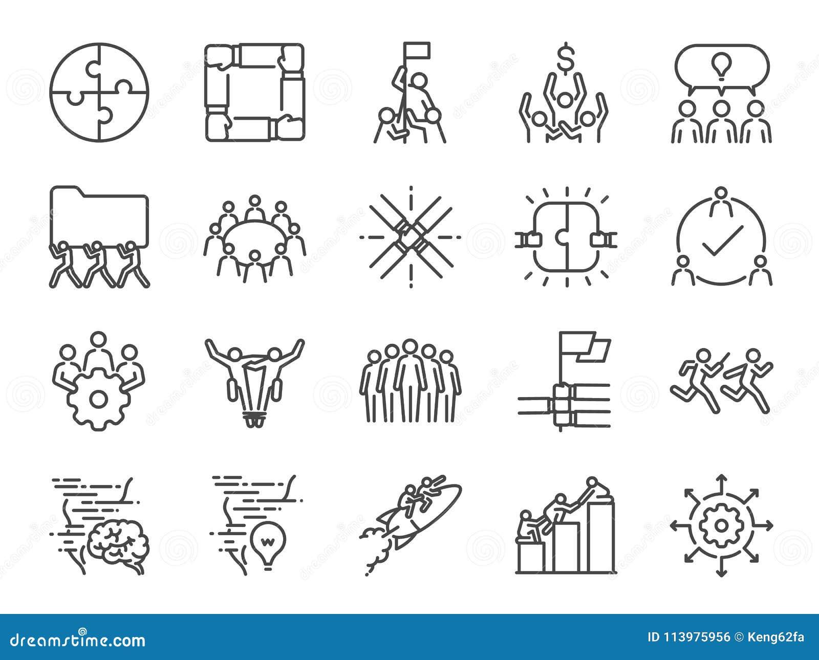 комплект значка сыгранности Включил значки как компания, сотрудничество, участие, успех, совместно, дело, единство, люди и mor