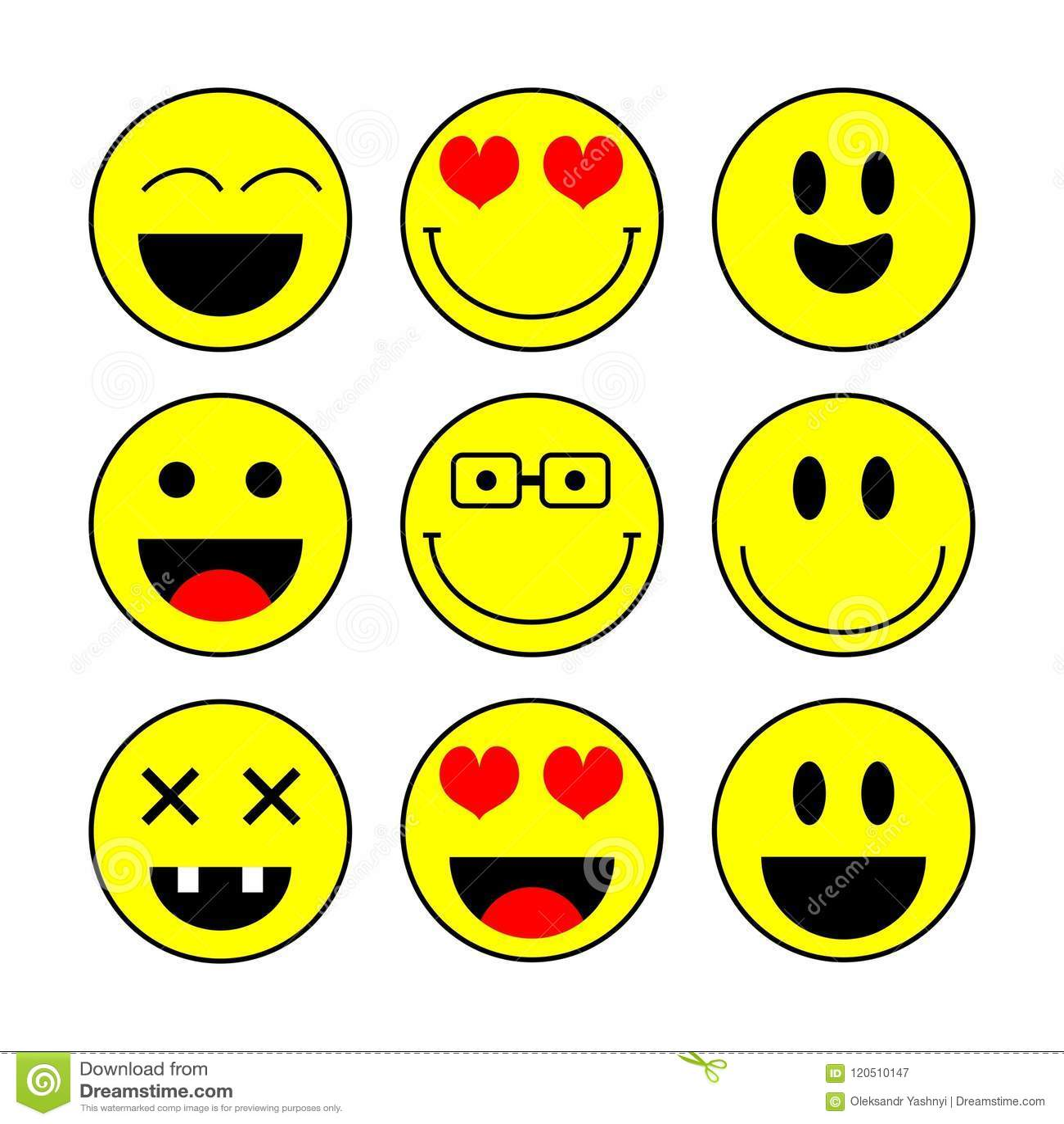 Комплект значка улыбки, вектор Значки эмоции Значки улыбки vector иллюстрация изолированная на белой предпосылке