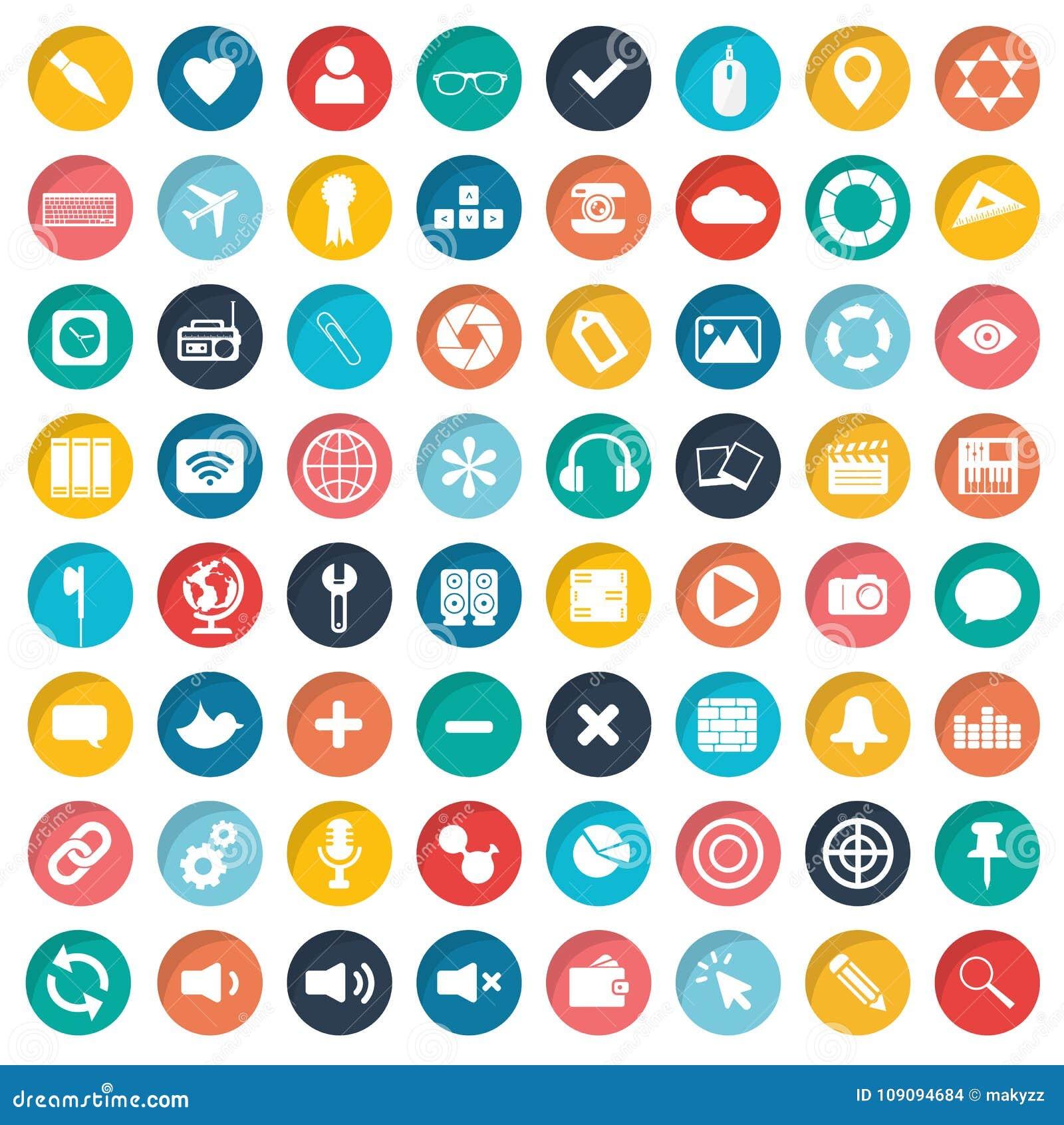 Комплект значка App Значки для вебсайтов и передвижных применений плоско