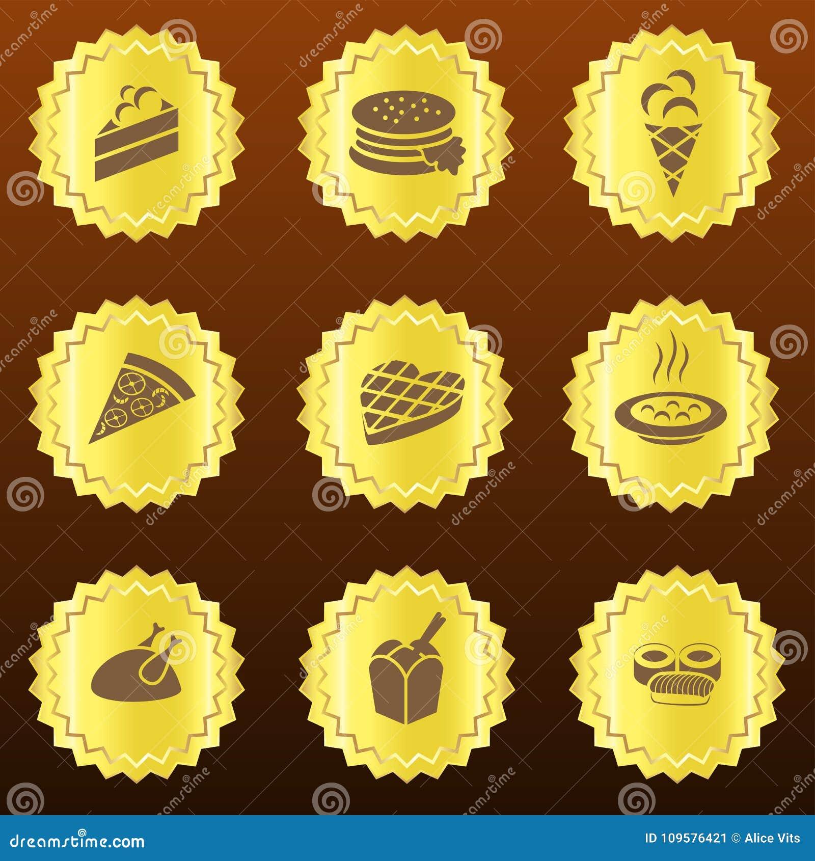 Комплект золотых связанных с ед значков или медалей