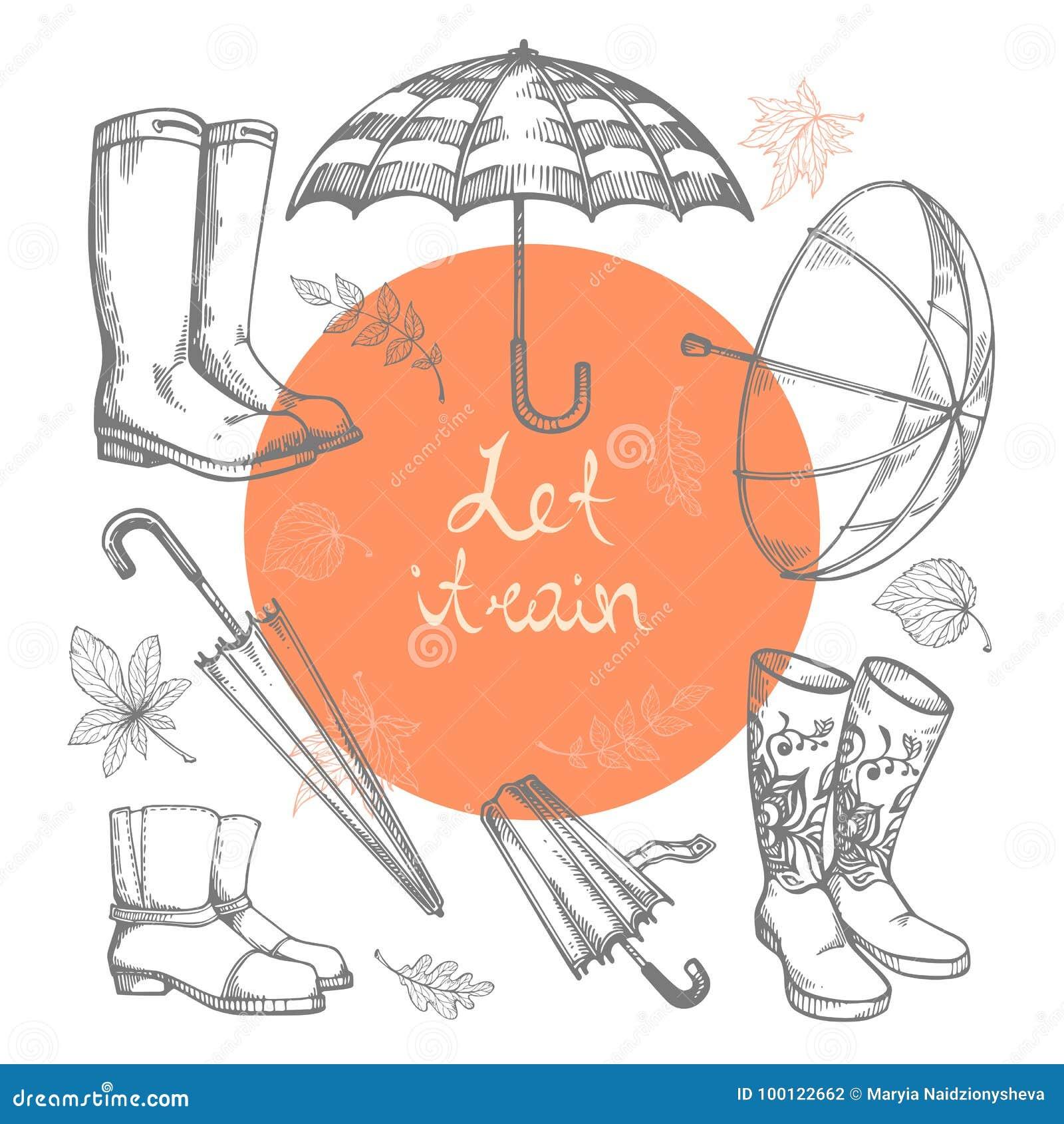 Комплект иллюстраций вектора нарисованных вручную зонтиков, резиновых ботинок и листьев осени