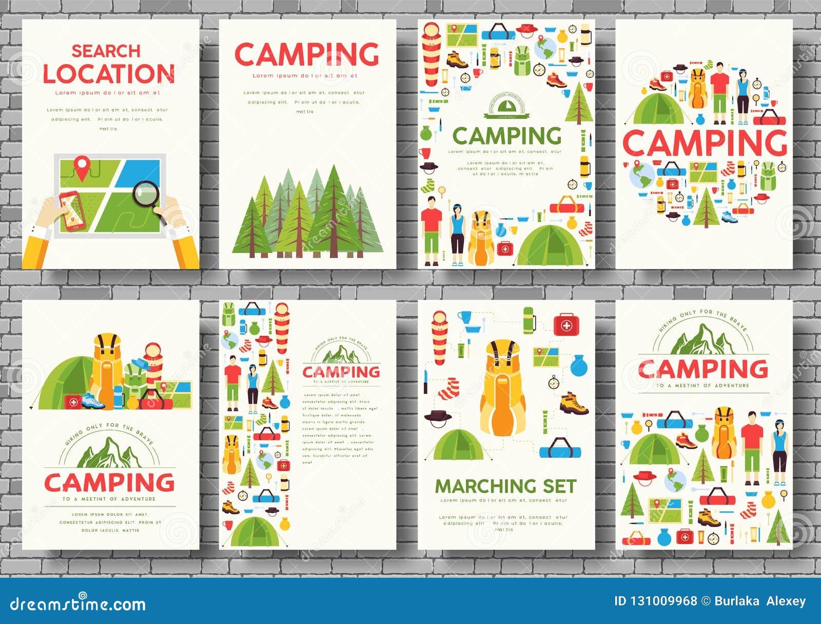 Комплект карточек похода Пеший шаблон flyear, кассеты, плакаты, обложка книги, знамена Backgr концепции tourl Trave infographic