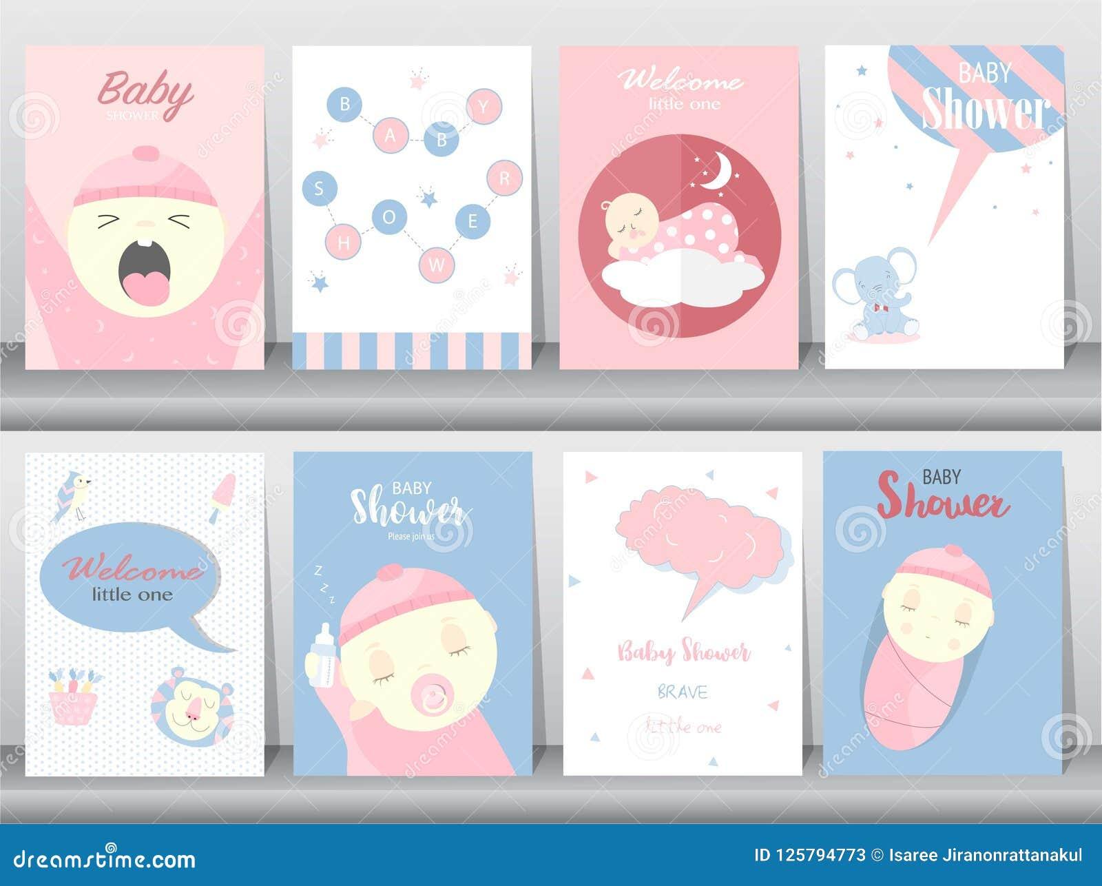 Комплект карточек приглашений детского душа, плакат, приветствие, шаблон, животные, милые, иллюстрации вектора