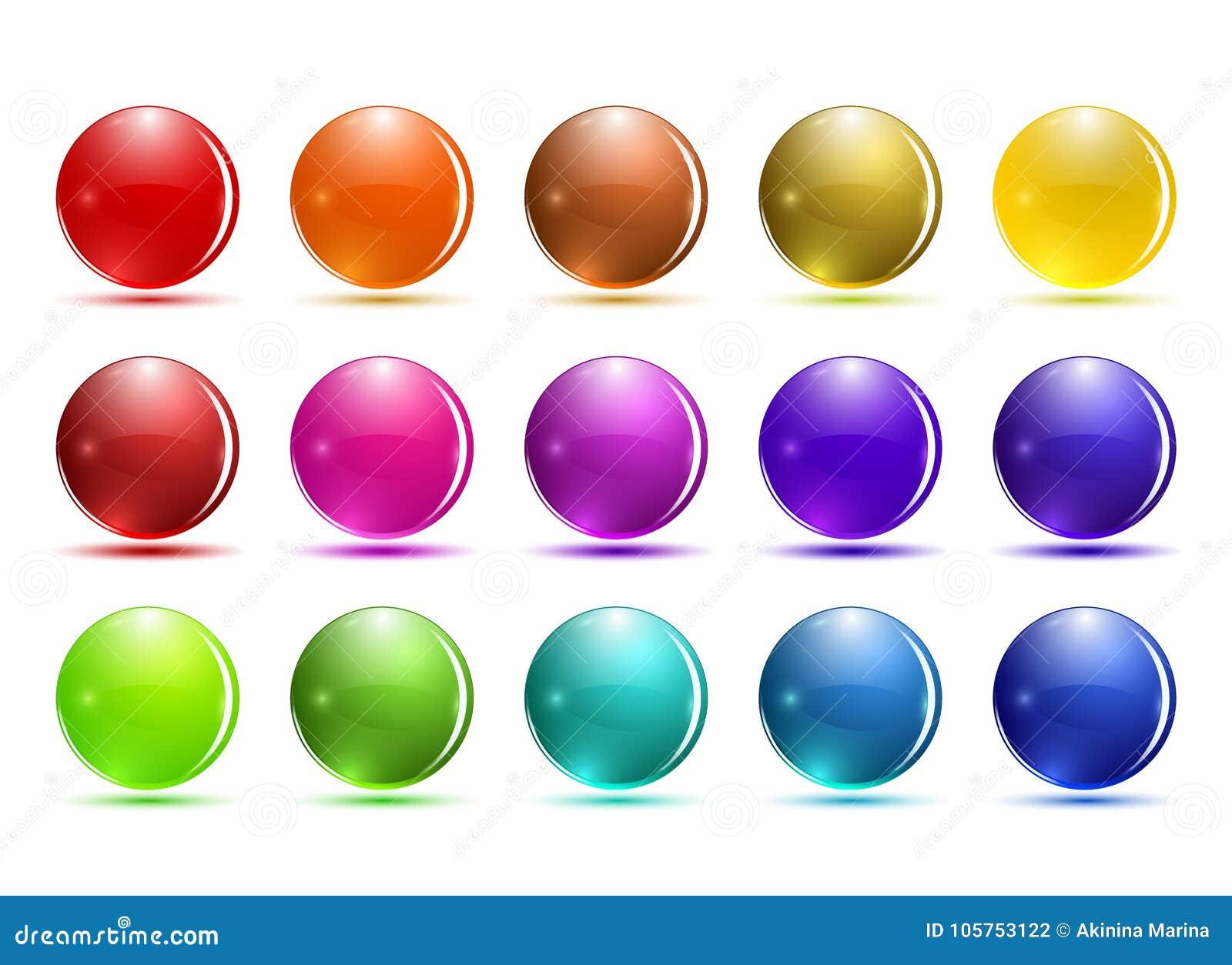 Комплект кнопки стекла 3d Лоснистые значки для сети