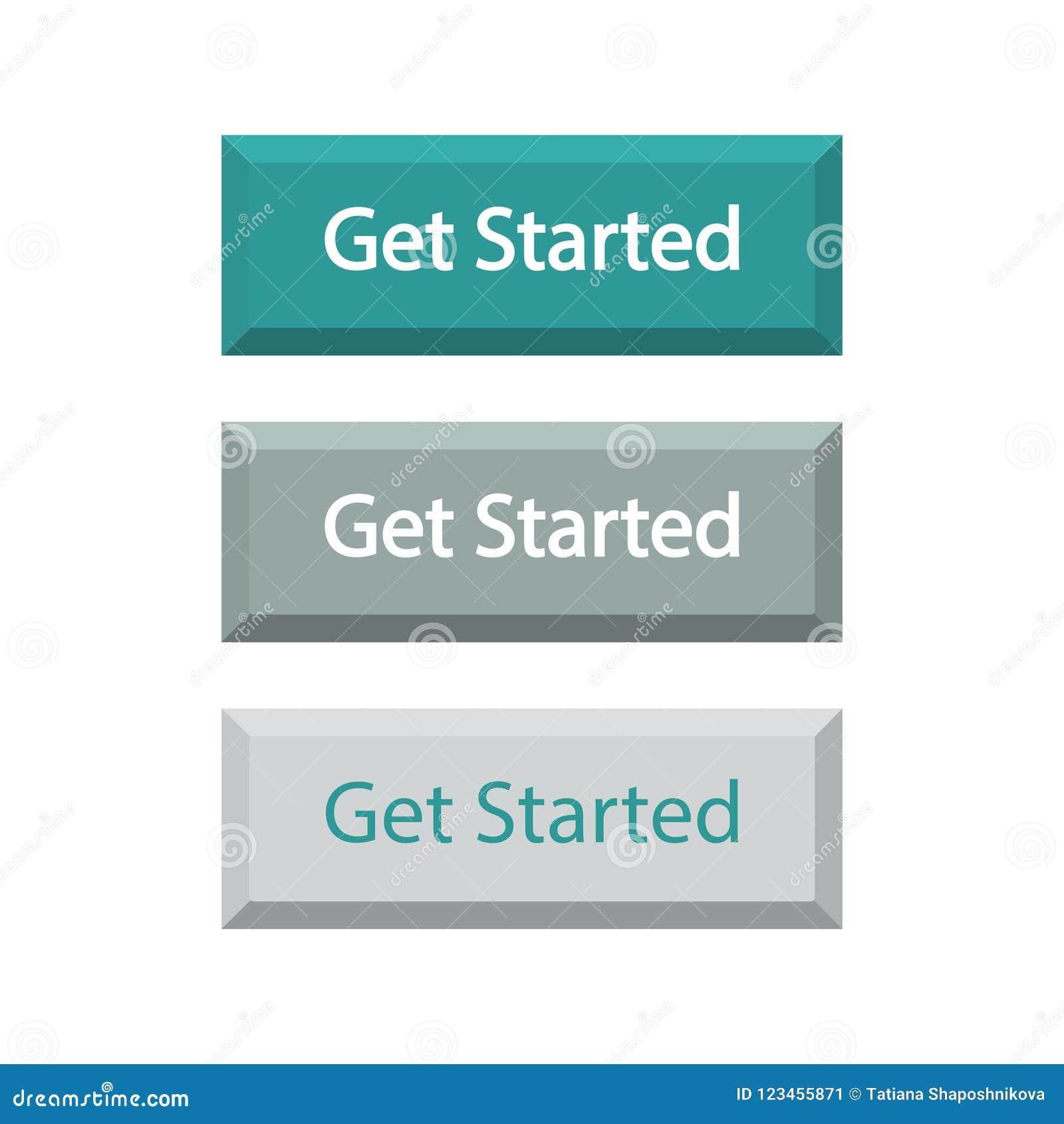 Комплект кнопок Get начал, изолированный на белой предпосылке