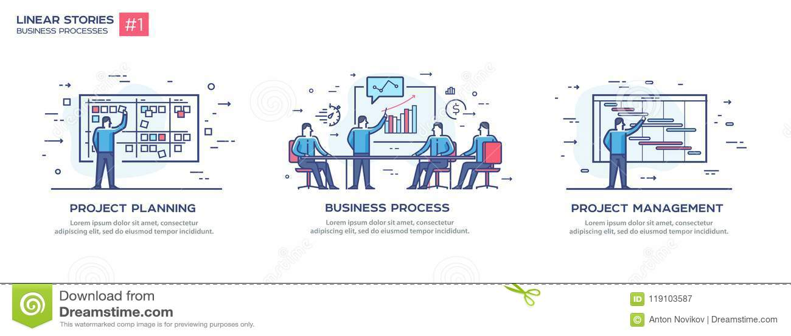 Комплект концепции иллюстраций с бизнесменами Поток операций, рост, графики Развитие биснеса, основные этапы работ линейно
