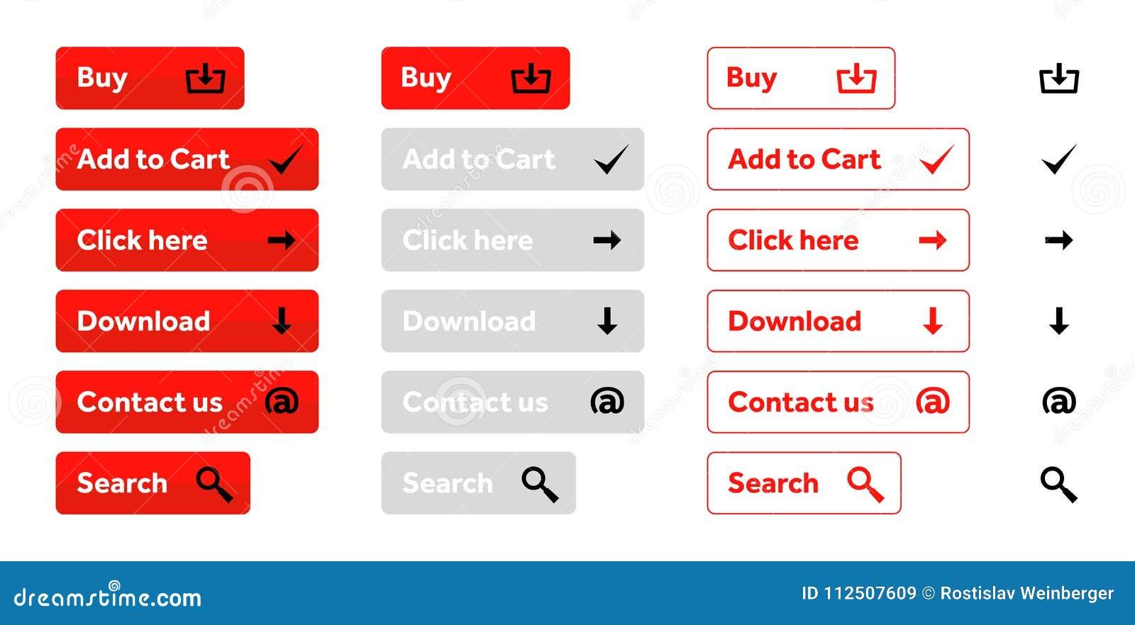 Комплект красного цвета кнопок сети с значками