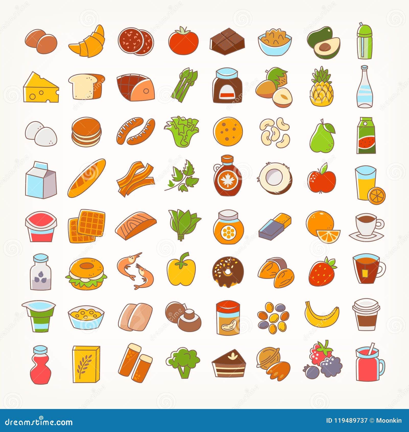 Комплект красочной линии значков хода еды