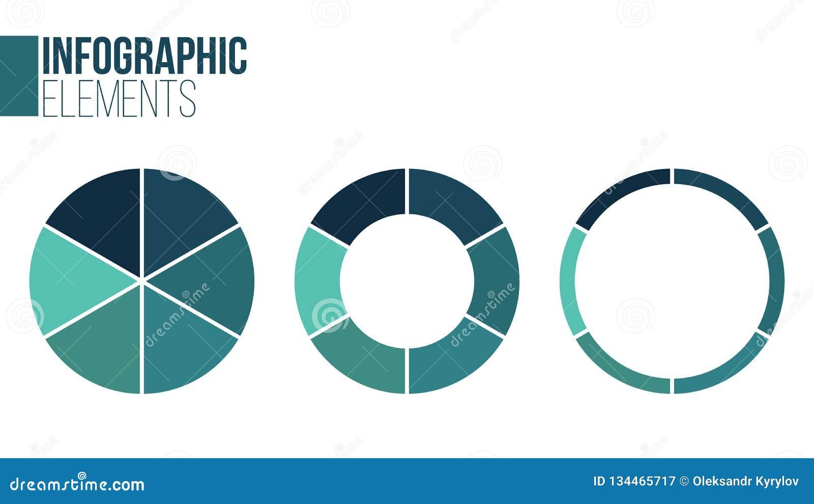Комплект круга вектора infographic Шаблон для диаграммы цикла, диаграммы, представления и круглой диаграммы Концепция дела с 6 ва