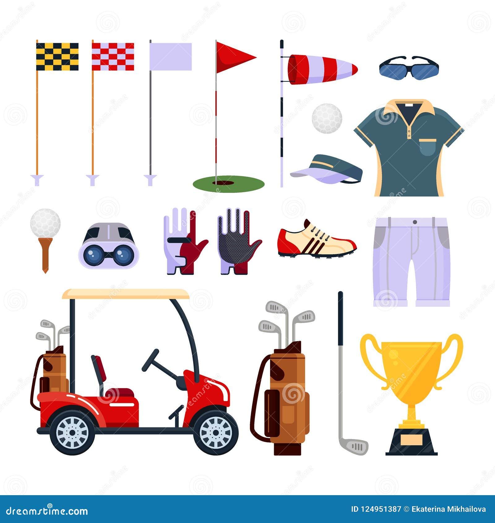 Комплект логотипа значка оборудования гольфа в плоском стиле изолированного на белой предпосылке Одежды и аксессуары для играть в