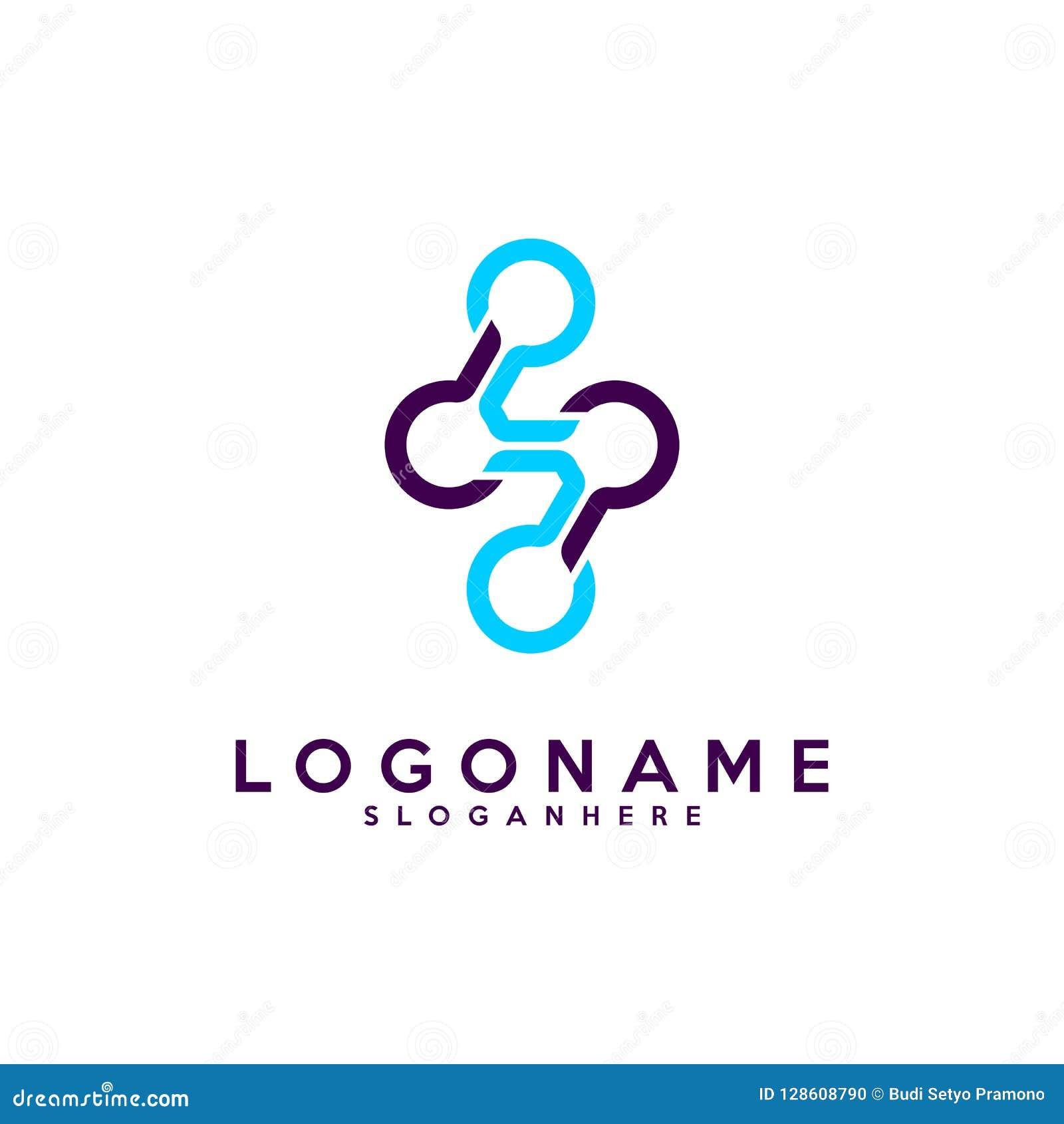 Комплект логотипа письма s, технология и цифровое абстрактное соединение точки vector логотип