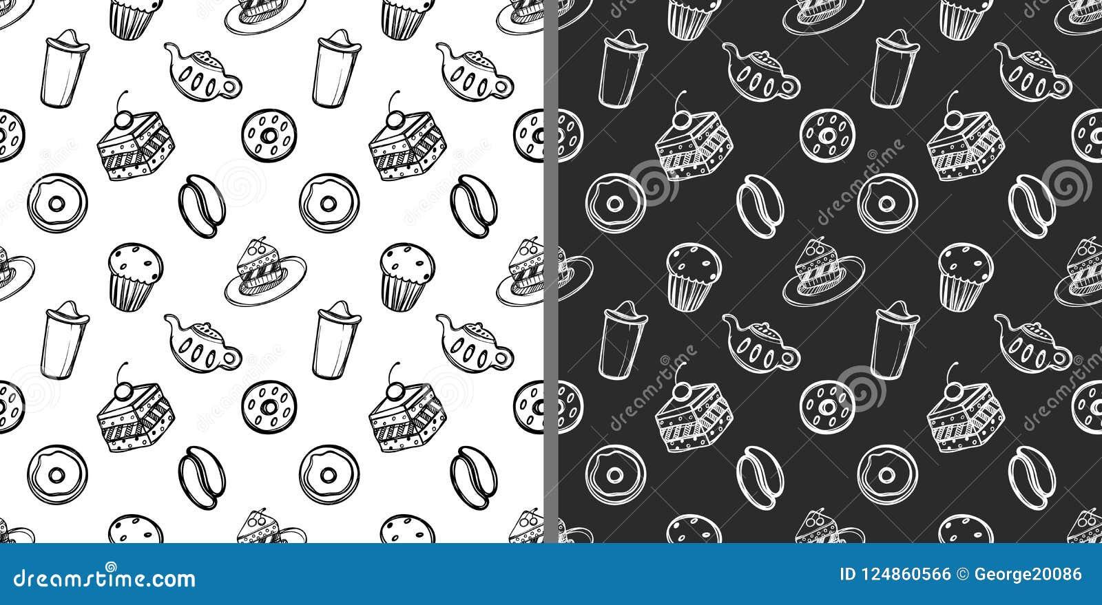 Комплект милого вещества десерта в стиле doodle Ханжи на белой и черной предпосылке Картины шаржа безшовные линейно
