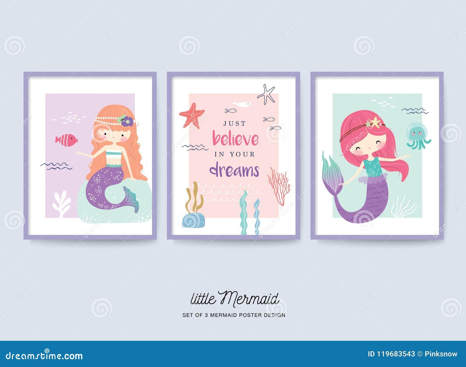 Комплект милого маленького плаката питомника русалки