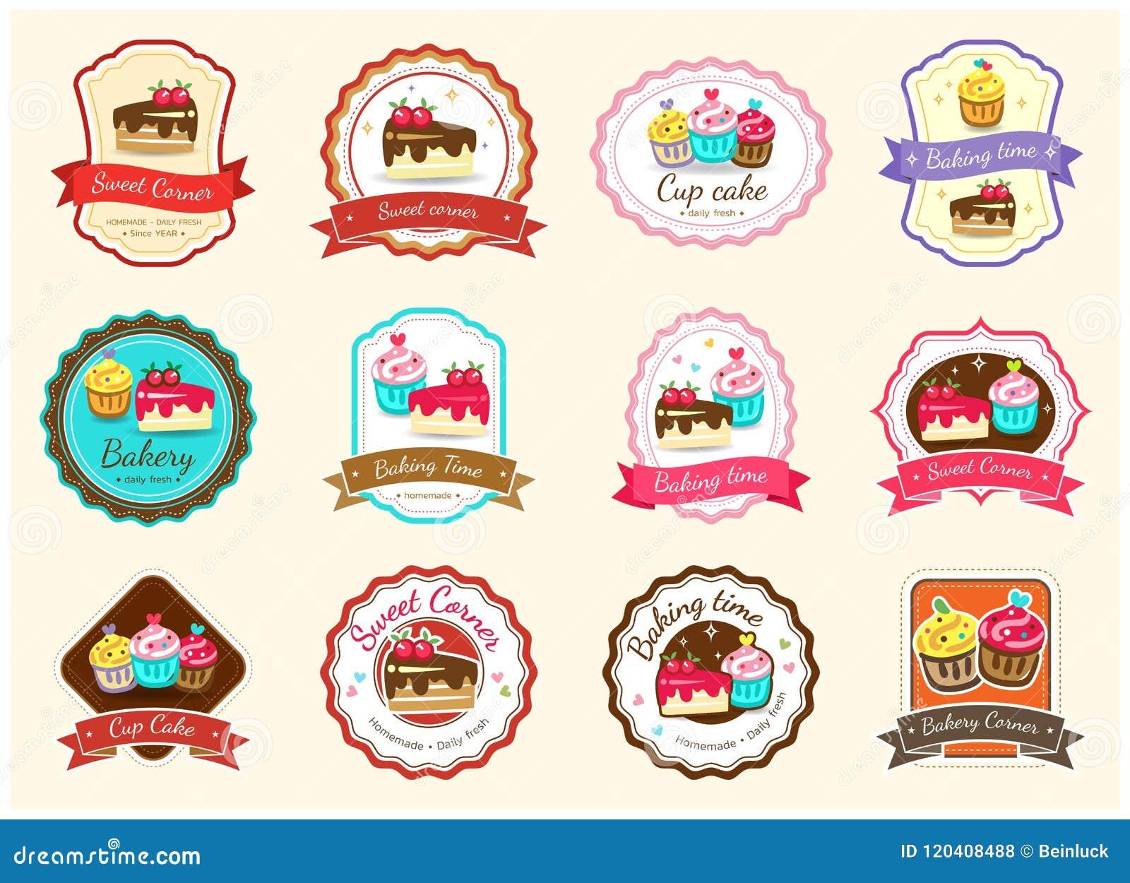 Комплект милого сладостного ярлыка и логотипа значка хлебопекарни