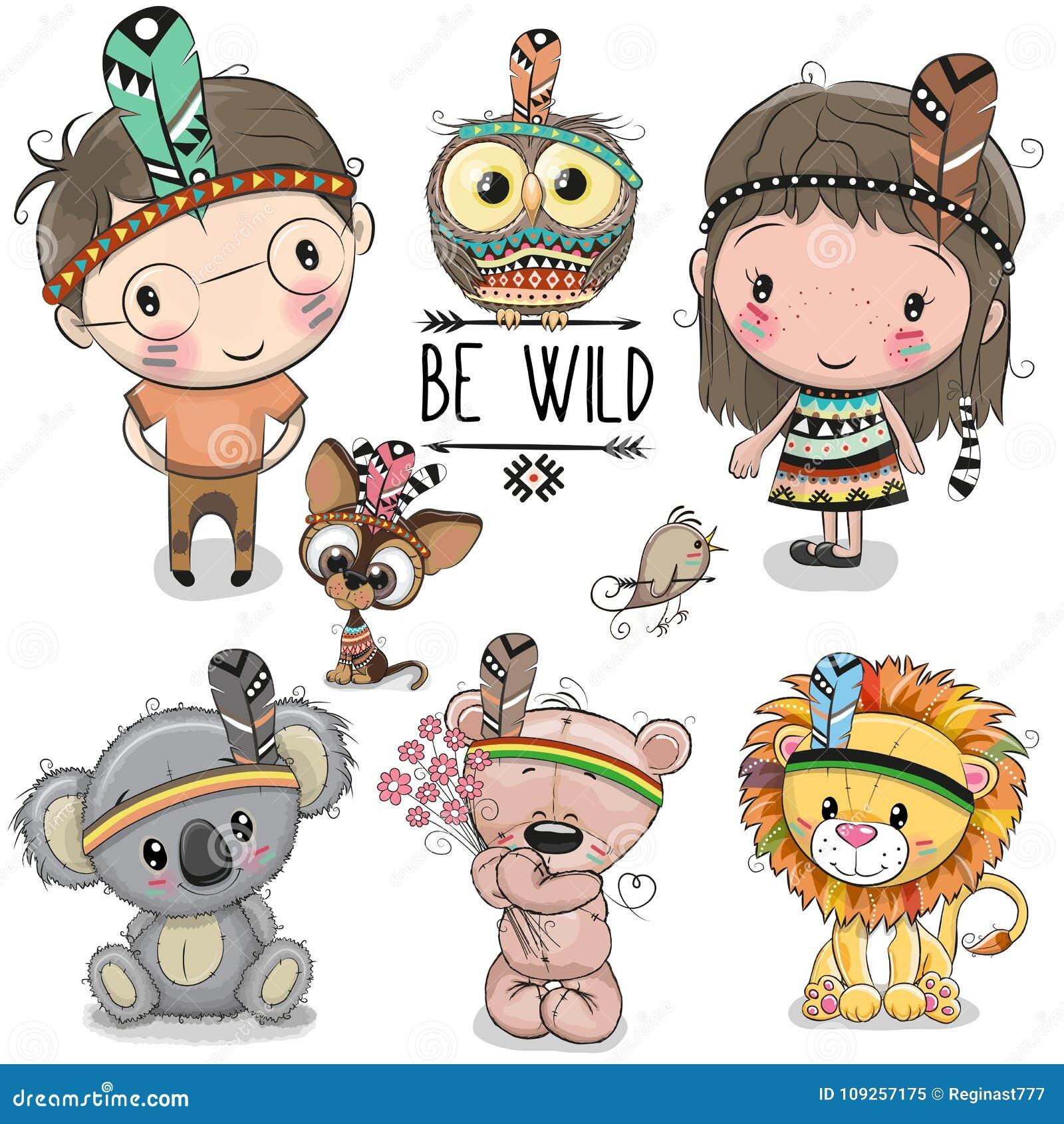 Комплект милой племенной девушки и мальчика и животных