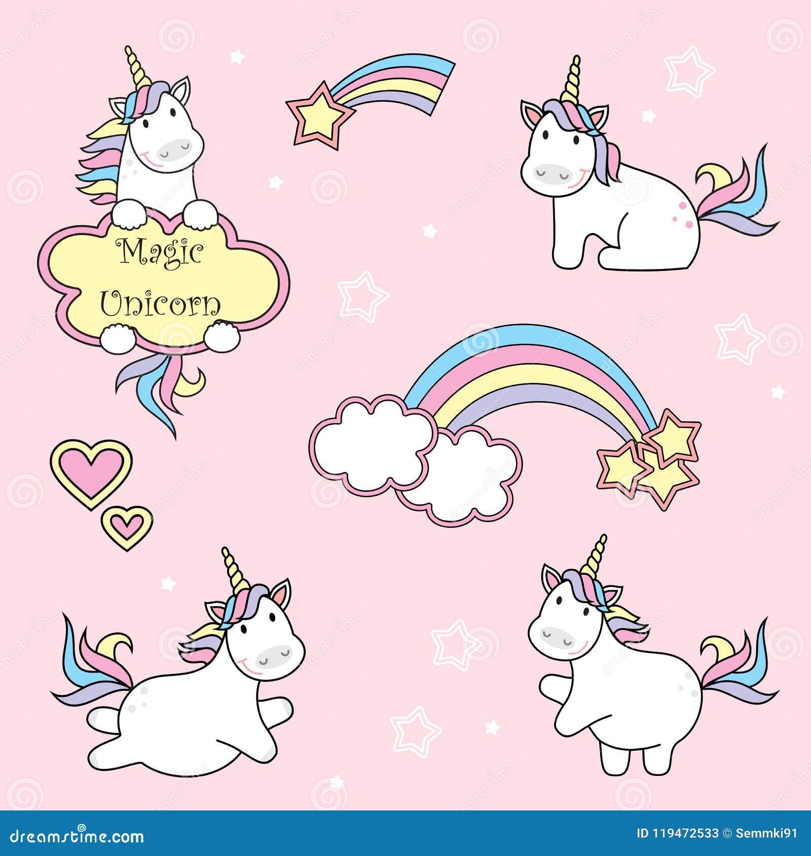 Комплект милых значков единорога, радуги и звезд, иллюстрации вектора ребенка, дизайна шаржа