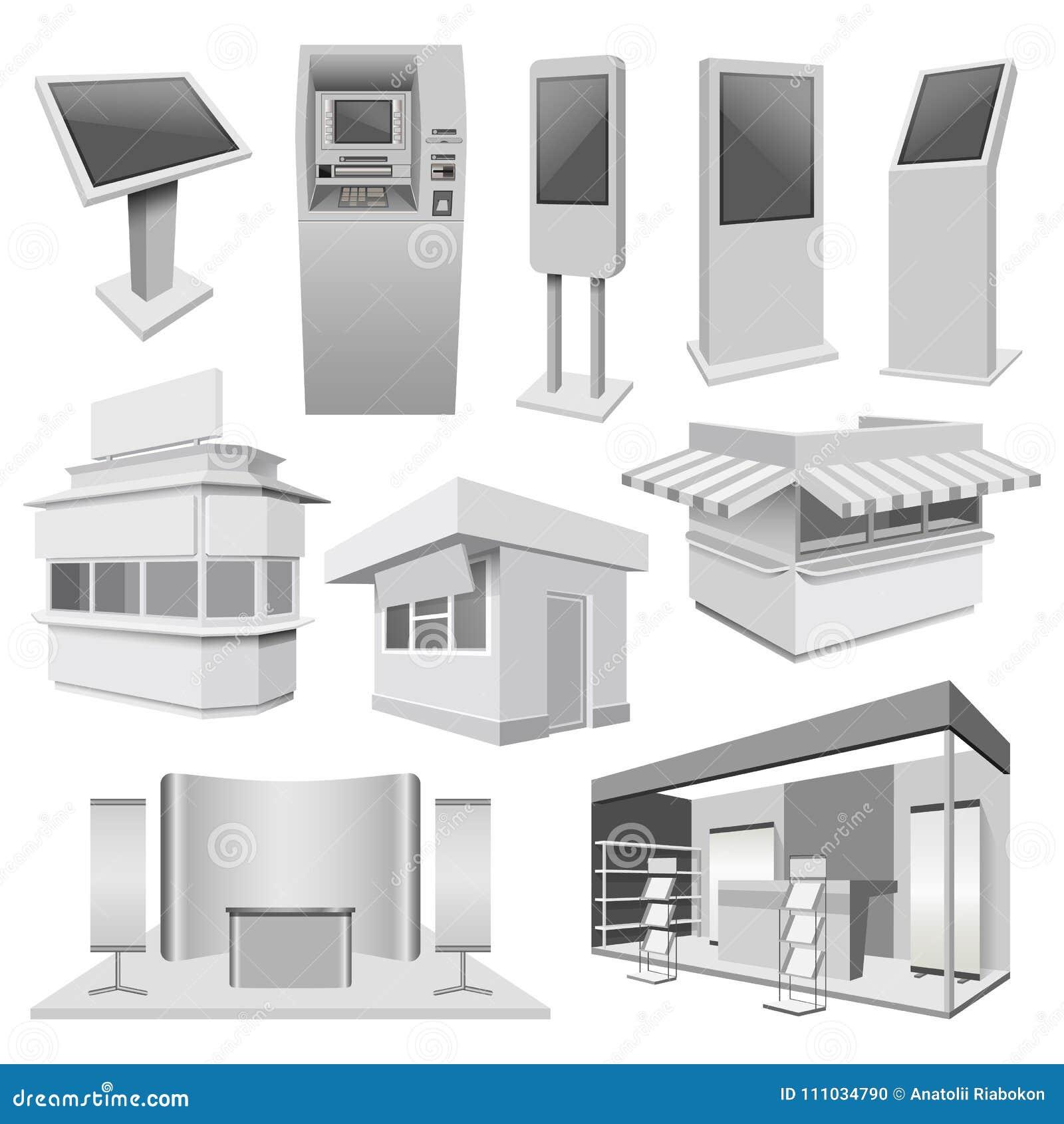 Комплект модель-макета будочки стойки киоска, реалистический стиль