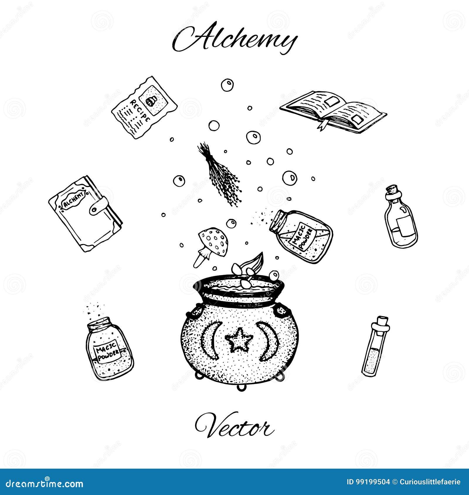 Комплект нарисованных рукой бутылок алхимии вектора Черный план зелиь, пробирок, трав, книг, грибов и котла