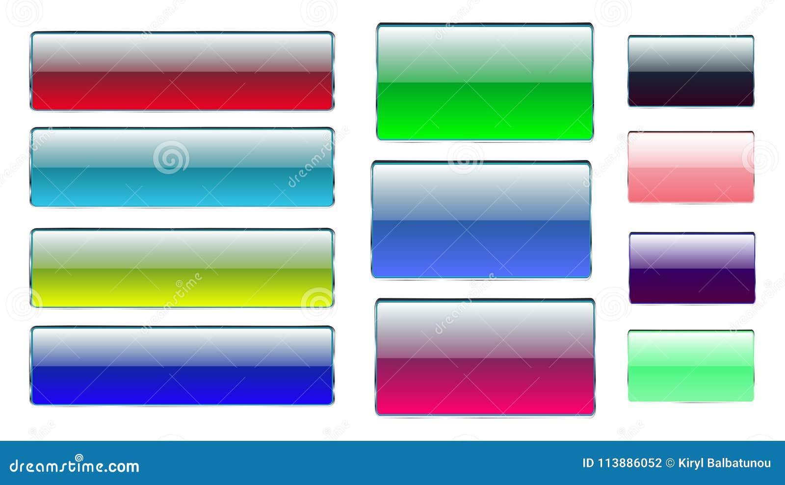 Комплект пестротканого прямоугольного и квадратного стеклянного прозрачного красочного яркого красивого вектора застегивает с сер