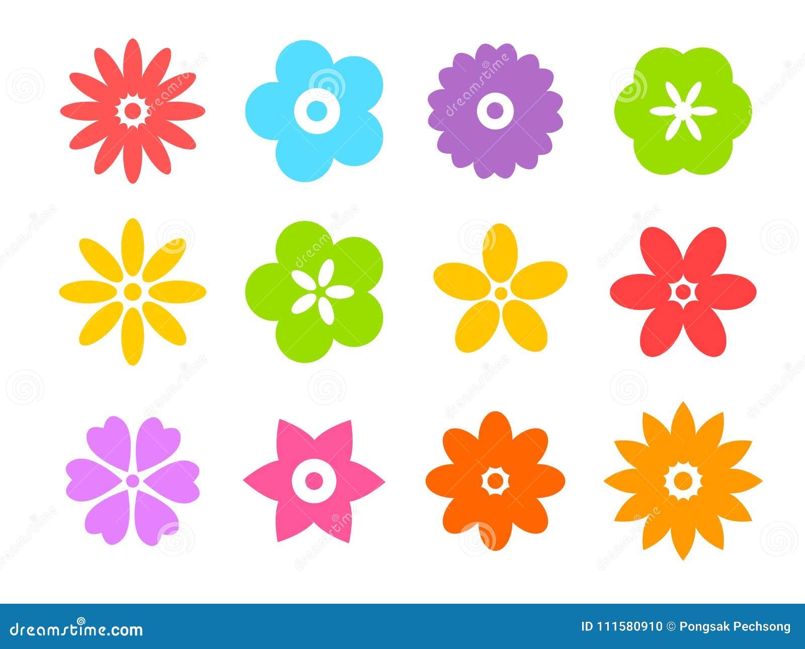 Комплект плоских значков цветка значка в силуэте изолированном на белизне для стикеров, ярлыки, бирки, упаковочная бумага подарка