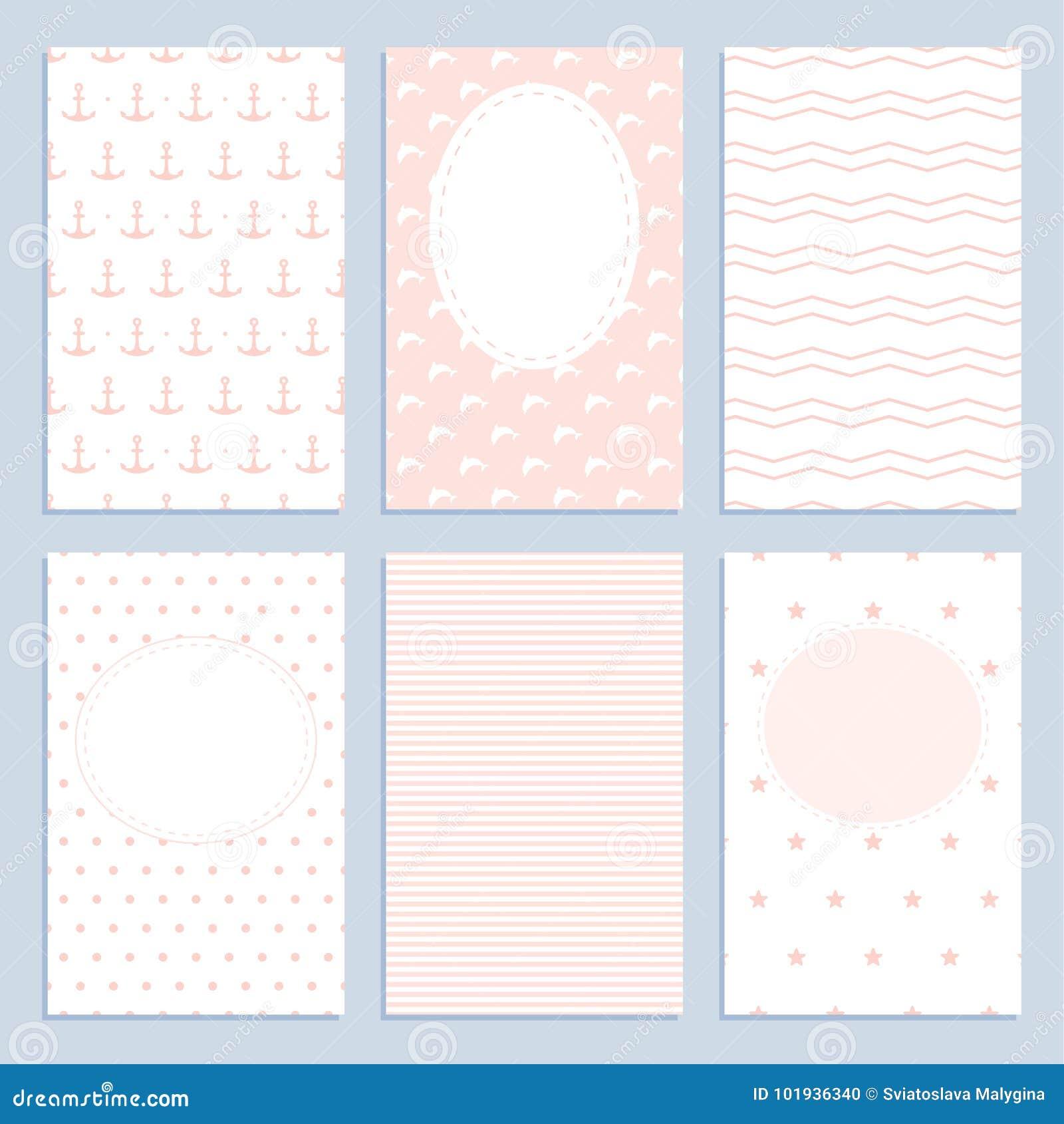 Комплект поздравительных открыток в морском стиле для девушек