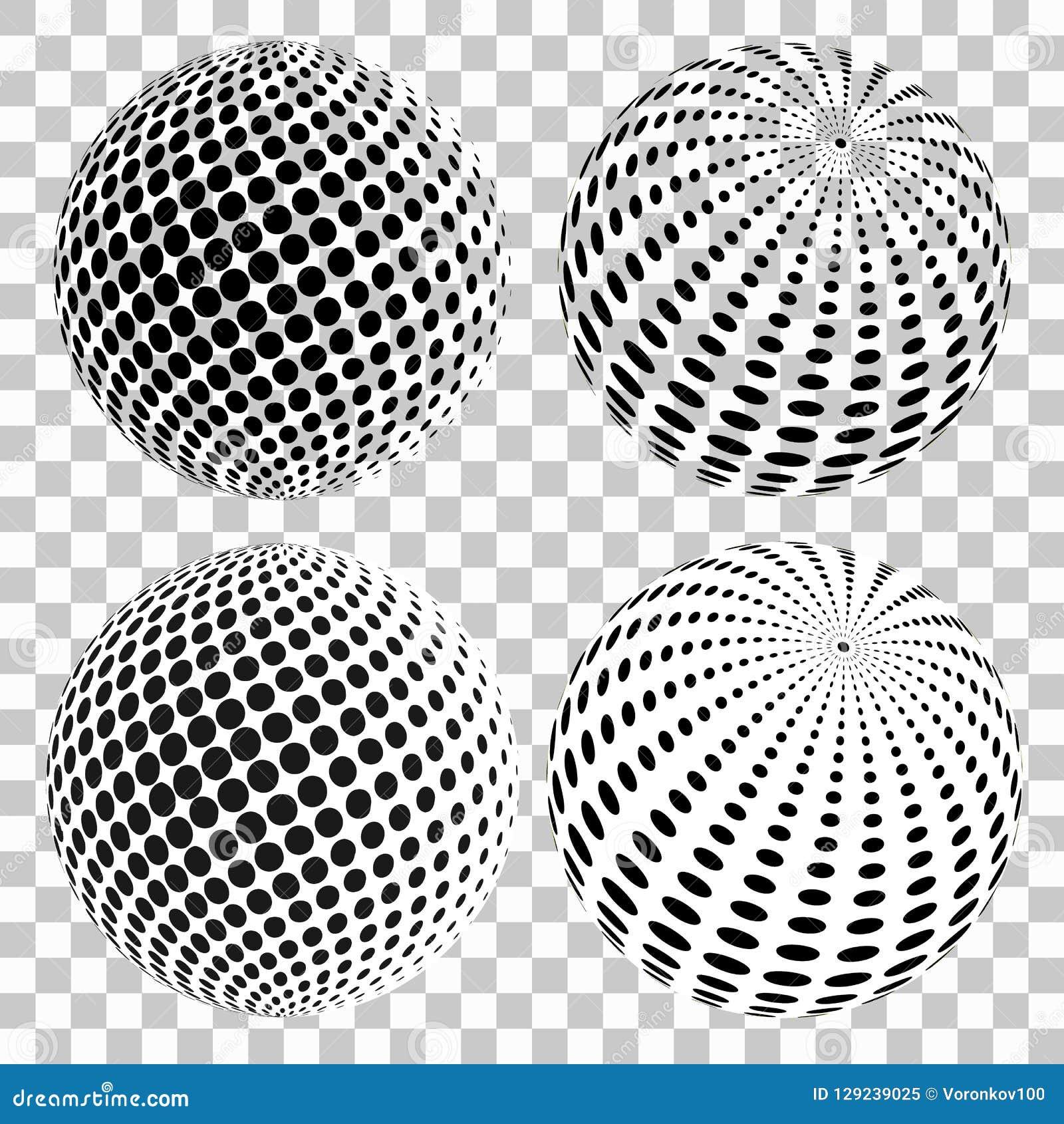 Комплект полутонового изображения 3D ставит точки сферы, на изолированной прозрачной предпосылке штольн элементов конструкции моя