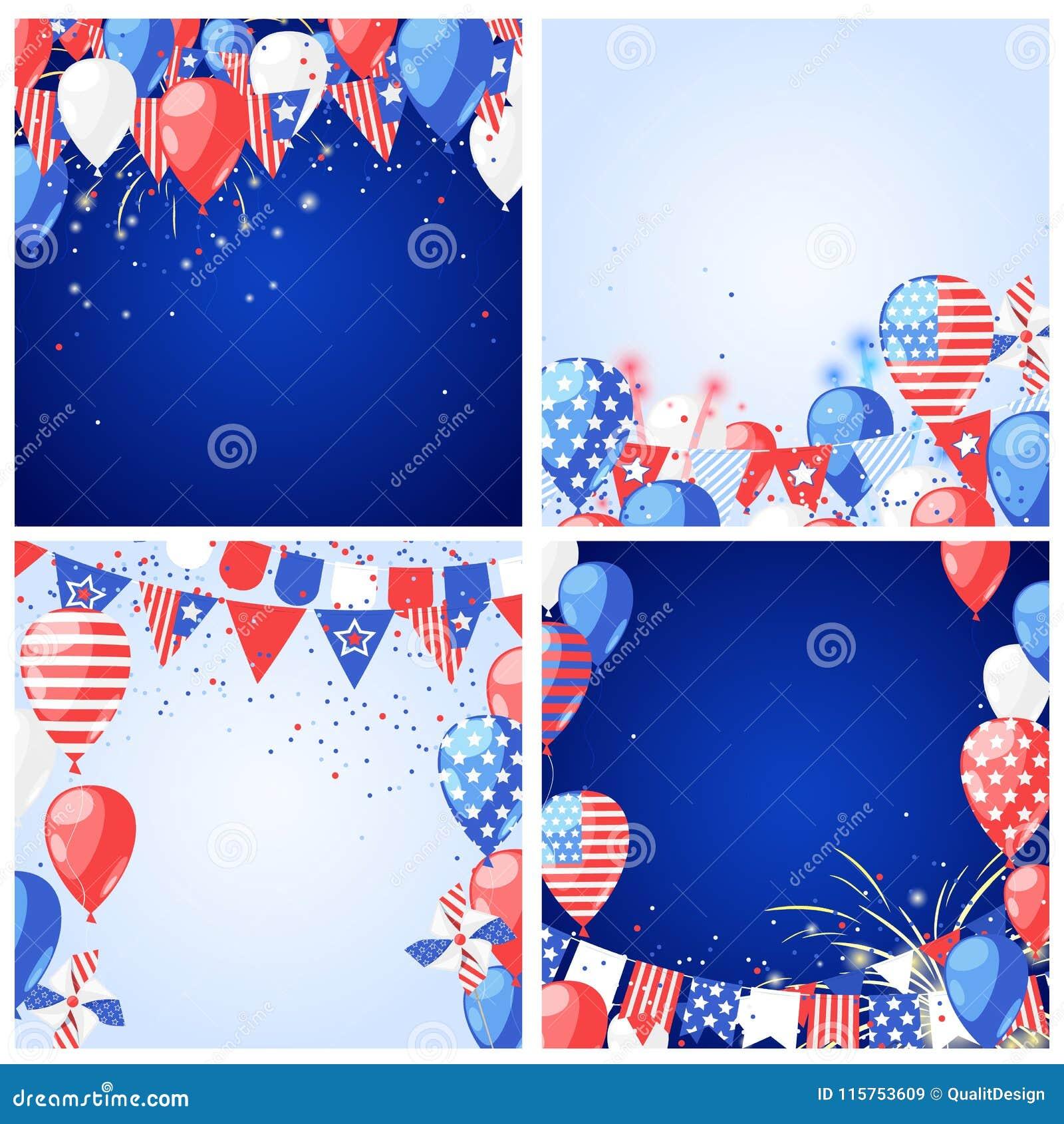 Комплект предпосылок и рамок вектора праздника США 4 из США -го поздравительной открытки Дня независимости в июле или шаблона зна