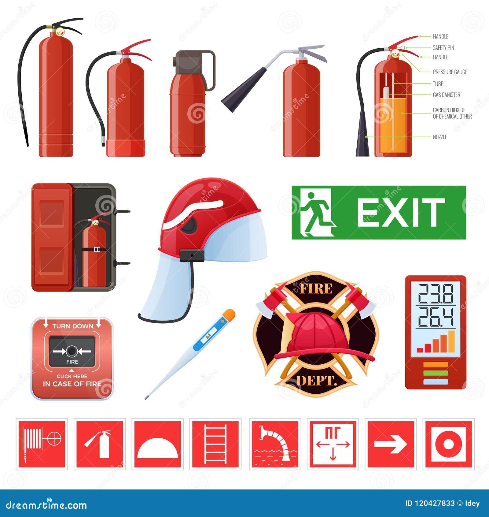 Комплект различных красных огнетушителей металла Знаки, термометры, шлем