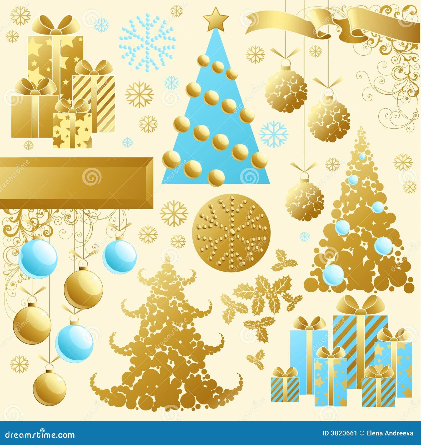 комплект рождества золотистый