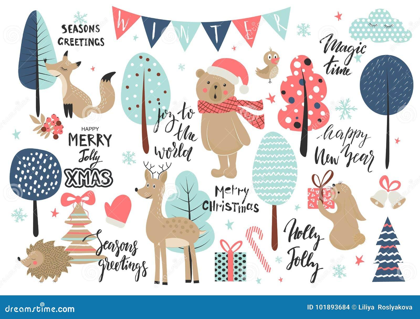 Комплект рождества, нарисованный рукой стиль - каллиграфия, животные и другие элементы также вектор иллюстрации притяжки corel