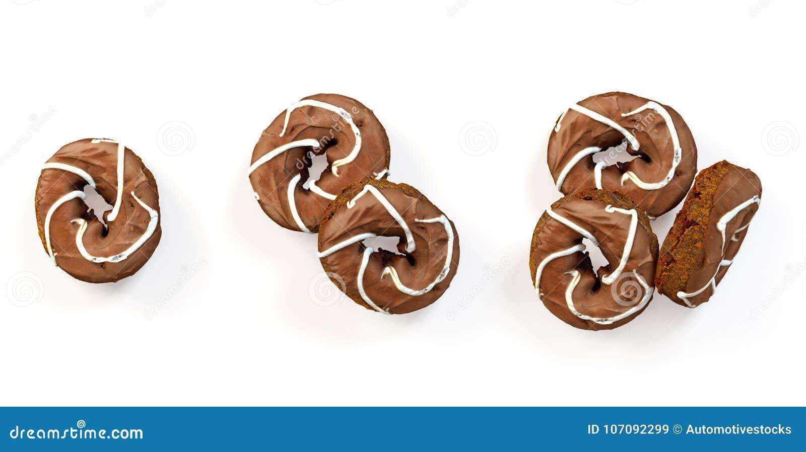 Комплект свеже испеченных donuts